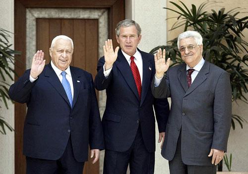 محمود عباس، جرج بوش، آریل شارون
