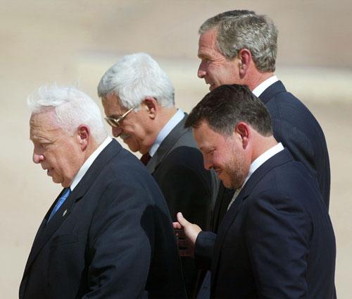 ملک عبدالله، جرج بوش، محمود عباس، آریل شارون